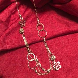 Long silver tone necklace